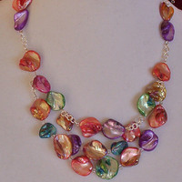 Daring Necklace Earring Set, Unusually Shaped Beads, Multicolor Handmade Jewelry.