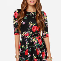 Just a Twirl Black Floral Print Dress