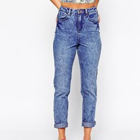 New Look Mottle Highrise Mom Jean