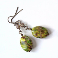 Stunning green jasper and Czech glass earrings  by PinkCupcakeJC