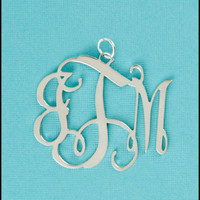 Sterling Silver Floating Monogram Pendant - Large