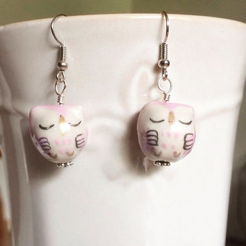 Owl Earrings Friendship Gift Bird Jewelry Bird Earrings Owl Jewelry Animal Earrings