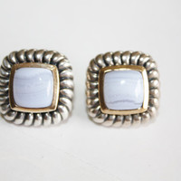 Sterling Art Glass Silver Earrings 1960s  Jewelry