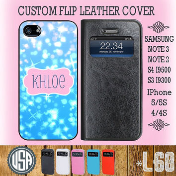 Customize Name Glitter Sparkle Flip Leather Cover @ IPhone 5 Case 5S IPhone 4 Case 4S Samsung S4 S3 Cover Samsung Note 3 Galaxy Note 2 L68