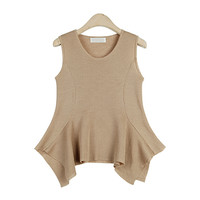 High-Low Sleeveless Knit Top