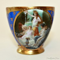 Hand Painted Enameled Raised Gilt Blue Demitasse Cup & Saucer Mythological Scenes II