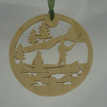 Friends Fishing Trip Christmas Ornament Handmade From Birch Plywood, Fishing Boat on the Lake