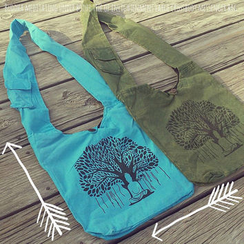 Buddha Meditating Under Bodhi Tree Of Enlightenment Large Crossbody Messenger Bag