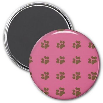 Brown Puppy Paws and Drk Pink Refrigerator Magnet