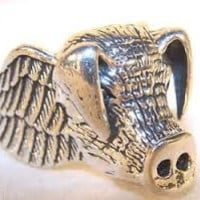 PIG / HOG HEAD SILVER BIKER RING