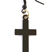 Yoshiko Cross Pendant Earings in Black