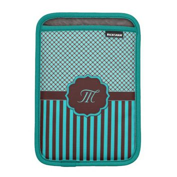Monogram Tartan Lt Teal-Choc iPad Mini Sleeve
