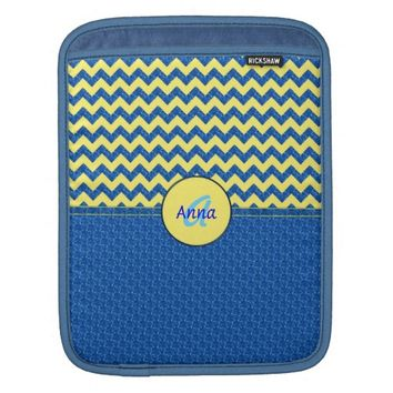 Monogram Blue-Yellow Chevron iPad Mini Sleeve