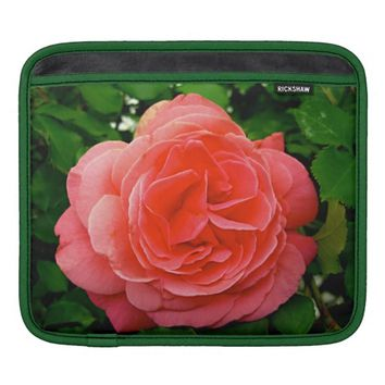 Coral English Rose Rickshaw iPad Sleeve Horizontal