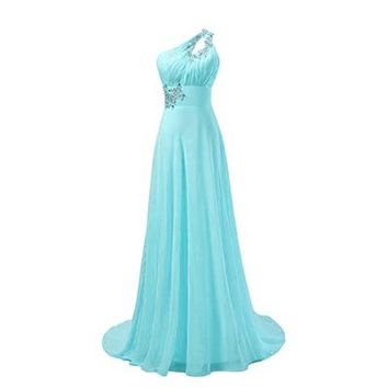 Fashion Plaza One Shoulder Formal Prom Gown Evening Wedding Dresses D031