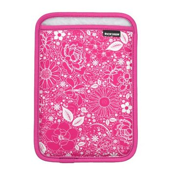 Botanical Beauties Hot Pink iPad Mini Sleeve