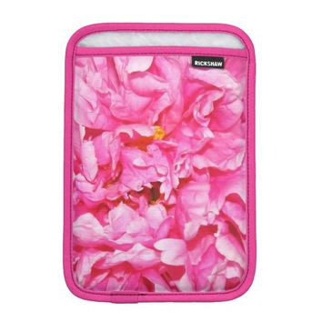 Pink Ruffled Peony Petals iPad Mini Sleeve
