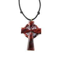 Celtic Cross Necklace, Celtic Cross Pendant, Celtic Wood Cross, Wood Cross Pendant, Christian Jewelry, Celtic Jewelry, Hand Carved Cross