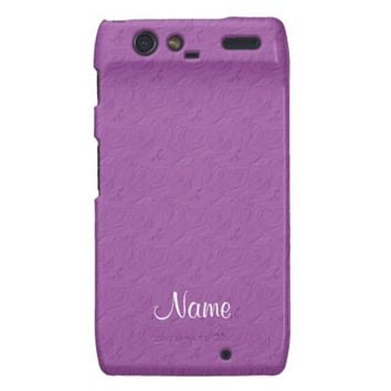 Embossed Roses, Lilac Purple Motorola Droid Razr