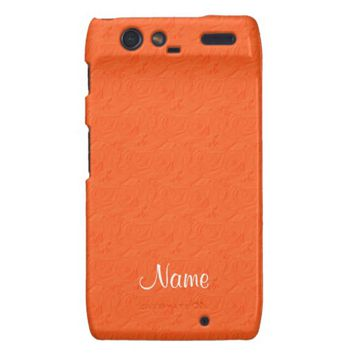 Embossed Roses Orange Motorola Droid Razr