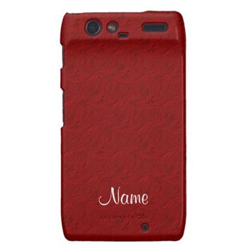 Embossed Roses, RED Motorola Droid Razr
