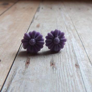 Purple Lilac Floral Flower Earrings Blue Earrings Bridesmaids Bridal Gift Wedding Gift Flower Girl Gift Under 20