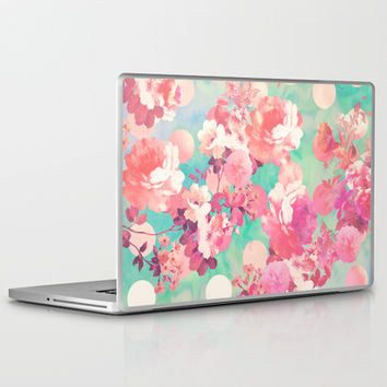 Romantic Pink Retro Floral Pattern Teal Polka Dots Laptop & iPad Skin by Girly Trend