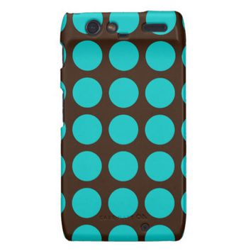 Teal Dots on Chocolate Brown Motorola Droid Case