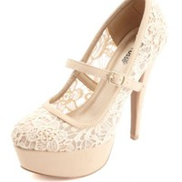 LACE MARY JANE PLATFORM PUMPS