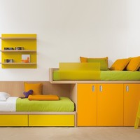 WOODEN BUNK BED WITH CABINET 7050 | BUNK BED | DEARKIDS