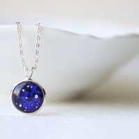 Nebula Cobalt Blue Space Petite Necklace - Astronomy jewelry - Short Necklace