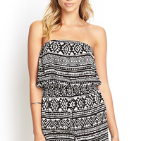 Strapless Tribal Print Romper