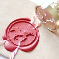 Running Horse Gold Plated Wax Seal Stamp x 1