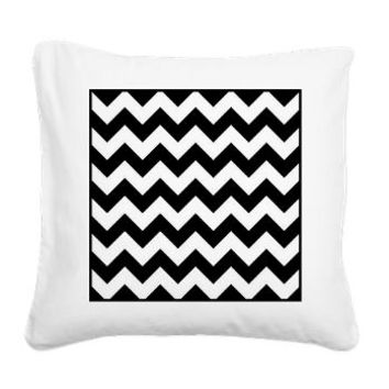 Black And White Chevron Square Canvas Pillow> Black And White Chevron> KCavender Home Goods