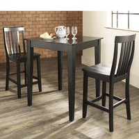 3-Piece Pub Dining Set Table with 2 Tapered Leg School House Chairs