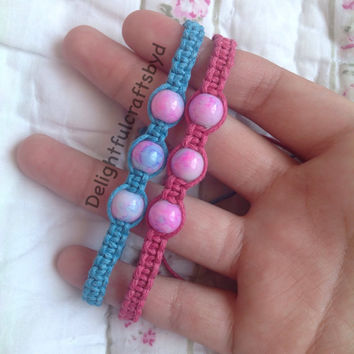Blue and pink watercolor hemp bracelet