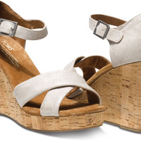 NATURAL METALLIC LINEN WOMEN'S STRAPPY WEDGES
