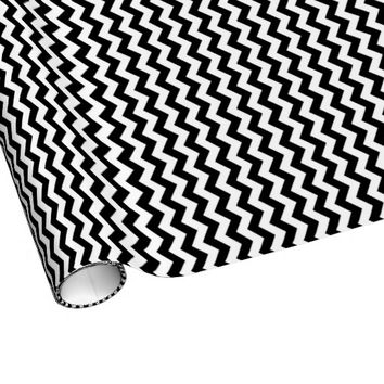 Black And White Chevron Stripes Wrapping Paper