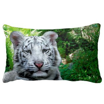 White Tiger Lumbar Pillow