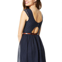 Cap Sleeve Lace Twofer Dress
