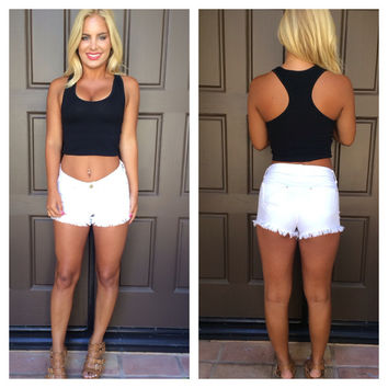 Late Night Racer Back Crop Top - BLACK