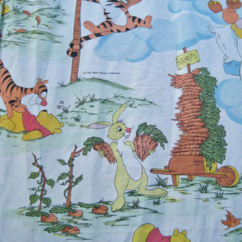 Disney Winnie the Pooh Drape Curtains Panel Set of 2 Tigger Piglet Rabbit Craft Fabric Clean Used