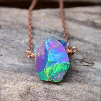 Hippie Jewelry - Rainbow Crystal Necklace - Boho Gypsy Jewelry - Rainbow Gypsy Necklace - Hippie Bohemian Jewelry - Rough Stone Necklace