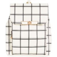 White Grid Print Backpack