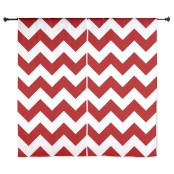 "Red And White Chevron Stripes 60"" Curtains> Red And White Chevron > KCavender Home Goods"