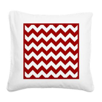 Red And White Chevron Pattern Square Canvas Pillow> Red And White Chevron > KCavender Home Goods