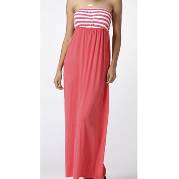 In Style Strapless Coral/White Maxi Dress