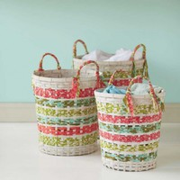 Bamboo and Fabric Baskets (set of 3) - VivaTerra
