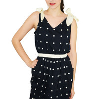Polka Dot Shoulder Ribbon Bow Dress