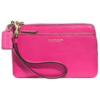 COACH DOUBLE L-ZIP WRISTLET IN SAFFIANO LEATHER